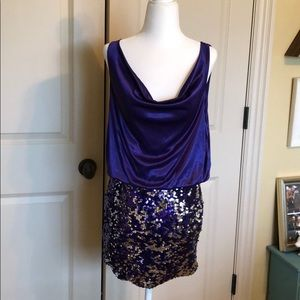 Purple Silky & Sequin Cocktail Dress